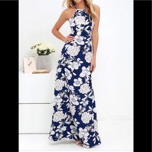 In Bloom Blue Floral Print Maxi Dress